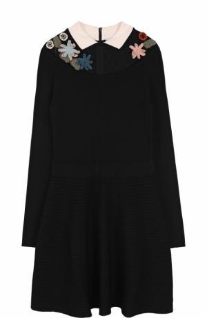 Вязаное мини-платье с длинным рукавом REDVALENTINO. Цвет: черный