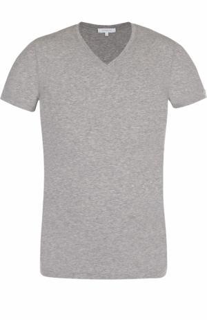 Хлопковая футболка с V-образным вырезом Ermenegildo Zegna. Цвет: серый
