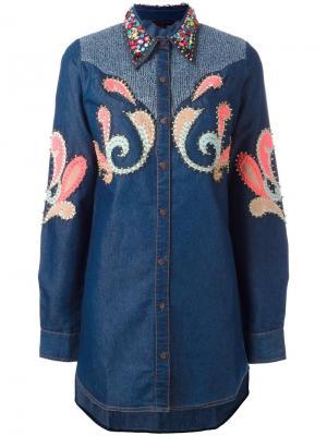 Декорированная рубашка с заклепками Manish Arora. Цвет: синий