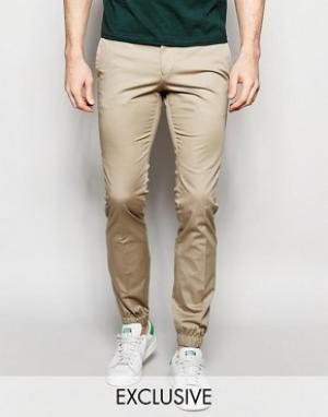 Noak Хлопковые супероблегающие брюки с манжетами. Цвет: бежевый