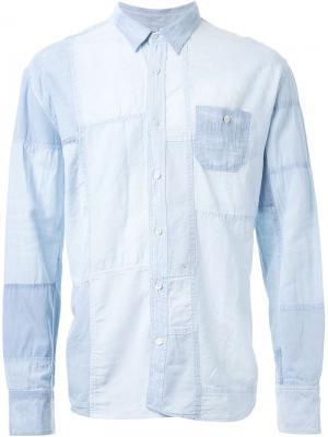 Лоскутная рубашка Longjourney. Цвет: синий