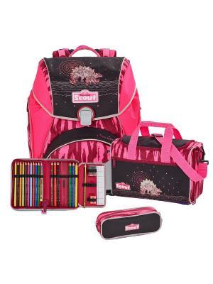 Ранец SCOUT ALPHA с наполнением 4 предмета РОЗОВЫЙ ДИНОЗАВР. Цвет: розовый