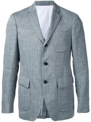 Фактурный пиджак в полоску Wooster + Lardini. Цвет: серый