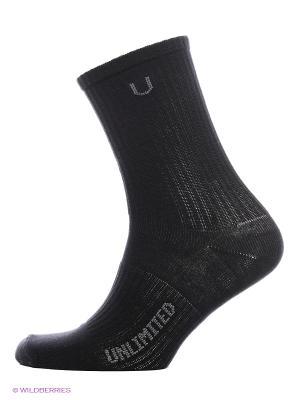 Носки спортивные 3 пары Unlimited. Цвет: черный