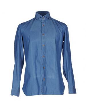 Джинсовая рубашка GIAMPAOLO. Цвет: синий