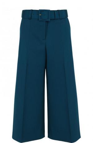 Укороченные расклешенные брюки из шерсти Oscar de la Renta. Цвет: бирюзовый
