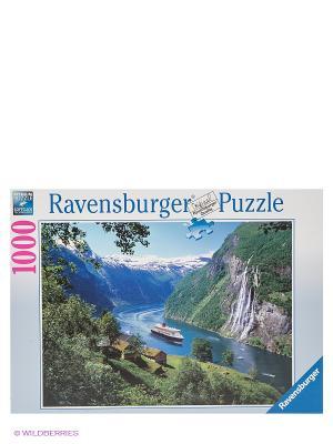 Пазл Норвежский фьорд, 1000 шт Ravensburger. Цвет: зеленый, белый, голубой, синий