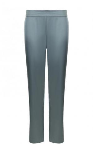 Однотонные укороченные брюки прямого кроя St. John. Цвет: зеленый