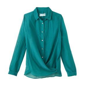 Рубашка из шелка и хлопка POMANDERE. Цвет: зеленый
