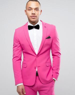 ASOS Супероблегающий розовый пиджак для выпускного. Цвет: розовый