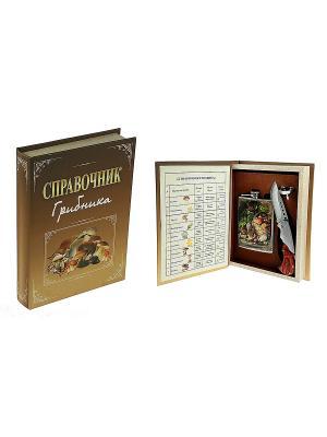 Подарочный набор Грибник: шкатулка, фляжка, воронка, нож Русские подарки. Цвет: коричневый, бежевый