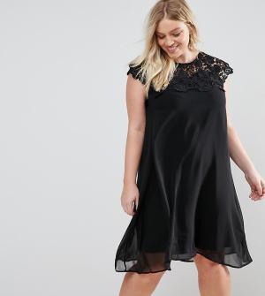 Praslin Свободное платье с ажурной кокеткой. Цвет: розовый