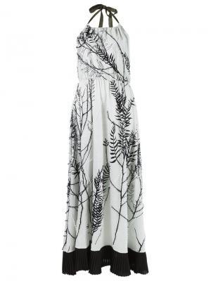 Платье с принтом и вырезом петлей-халтер Isabela Capeto. Цвет: белый