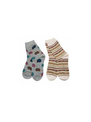 Носки Ёжики+Орнамент Kawaii Factory. Цвет: бежевый, коричневый, серый