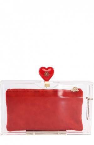 Клатч Love Pandora с замшевой косметичкой Charlotte Olympia. Цвет: прозрачный