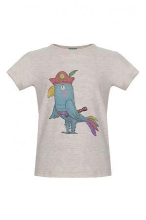 Хлопковая футболка LISA&LEO. Цвет: бежевый
