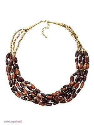 Ожерелье ГАНГ. Цвет: темно-коричневый, золотистый