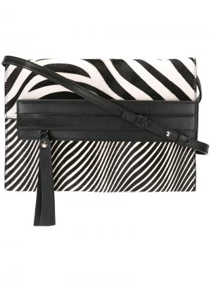 Сумка на плечо с зебровым принтом Elena Ghisellini. Цвет: чёрный