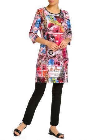 Платье домашнее, леггинсы LAVELLE. Цвет: ярко-розовый