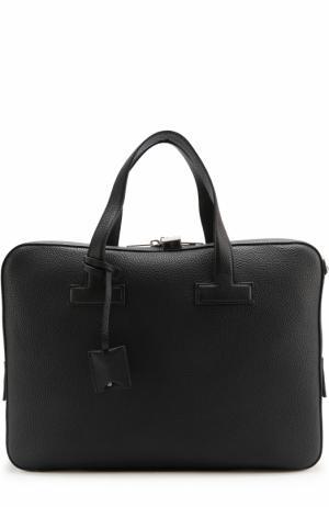 Кожаная сумка для ноутбука с плечевым ремнем Tom Ford. Цвет: темно-синий