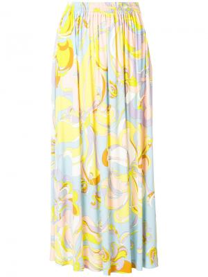 Юбка миди с абстрактным принтом Emilio Pucci. Цвет: жёлтый и оранжевый