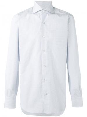Рубашка в клетку Barba. Цвет: синий