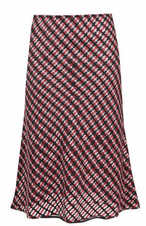 Шерстяная юбка-миди в клетку Versace. Цвет: красный