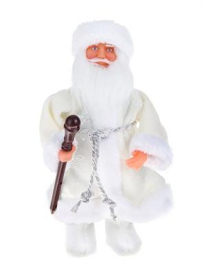 Дед Мороз музыкальный в валенках белой шубке с посохом (русская мелодия), 25см А М Дизайн. Цвет: коричневый, серебристый, коралловый, кремовый, белый