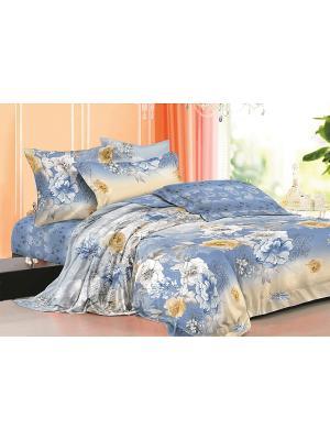Комплект постельного белья ЕВРО сатин, рисунок 670 LA NOCHE DEL AMOR. Цвет: голубой