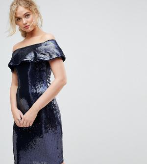 TFNC Tall Платье бандо миди с пайетками. Цвет: темно-синий