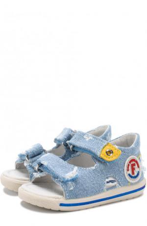 Текстильные сандалии с застежками велькро Falcotto. Цвет: голубой