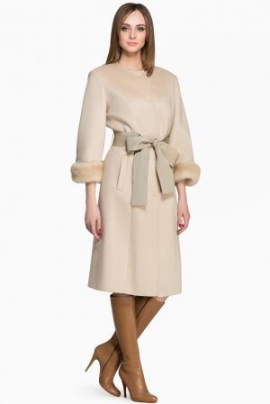 Кашемировое пальто с норковыми манжетами и поясом 142681 Igor Gulyaev. Цвет: бежевый