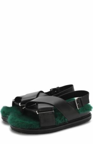 Кожаные сандалии Fussbett с внутренней отделкой из меха норки Marni. Цвет: черный