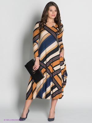Платье МадаМ Т. Цвет: бежевый, горчичный, синий