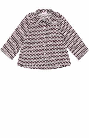 Хлопковая блуза с принтом Il Gufo. Цвет: бордовый