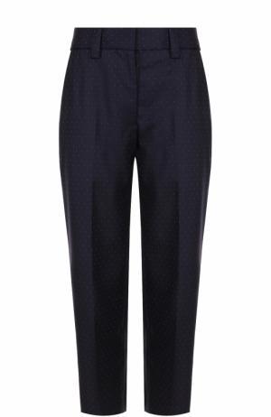 Укороченные шерстяные брюки в горох Acne Studios. Цвет: темно-синий