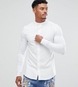 SikSilk Белая обтягивающая рубашка с трикотажными рукавами эксклюзивно. Цвет: белый