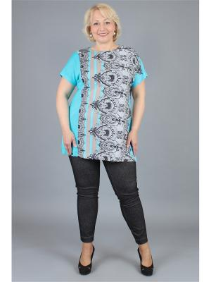 Блузка NadiN. Цвет: бирюзовый,белый