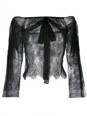 Кружевная блузка с приспущенными плечами Philosophy Di Lorenzo Serafini. Цвет: чёрный