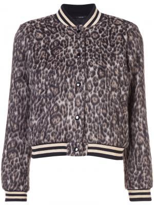 Куртка-бомбер с леопардовым принтом R13. Цвет: коричневый