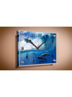 Настенные часы-картина Дельфины 30х40 В23 PROFFI. Цвет: темно-синий
