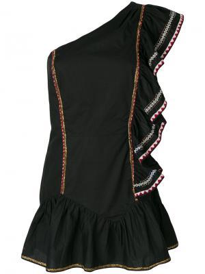 Платье на одно плечо с рюшами Love Shack Fancy. Цвет: чёрный
