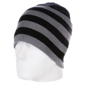 Шапка  2 Stripe Beanie Black/Grey Urban Classics. Цвет: черный,серый