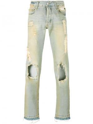 Узкие джинсы с протертостями Misbhv. Цвет: синий