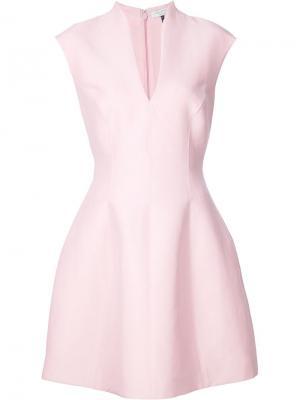 Расклешенное платье с V-образным вырезом Halston Heritage. Цвет: розовый и фиолетовый