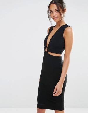 Missguided Облегающее платье с вырезами и кольцом. Цвет: черный