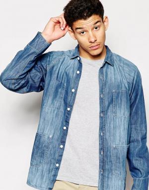 Dickies Джинсовая рубашка. Цвет: синий