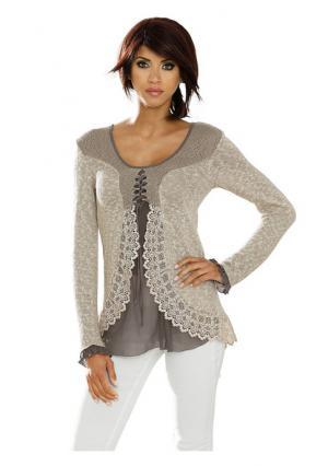 Пуловер LINEA TESINI by Heine. Цвет: розовый, серо-коричневый