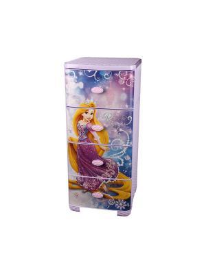 Комод плетеный Рапунцель-Дисней 4-х секционный Альтернатива. Цвет: лазурный, фиолетовый, золотистый, белый