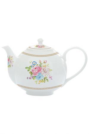 Чайник с ситечком Акварель Nuova R2S. Цвет: белый, розовый